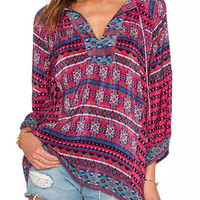 Multicolor V-Neck Folk Pattern Blouse