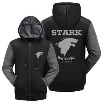 NEW A Song of Ice and Fire Zip Hoody Game of Thrones Black Hooded Jacket House Stark Thick Coats  Unisex plush Sweater  hoodie