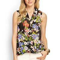 Contemporary Floral Chiffon Surplice Top