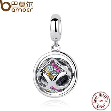 Fashion 925 Sterling Silver Crystals Round Pendant Charms fit Bracelets Friendship Gift SCC025