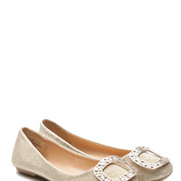 Gold Glitter Piped Rhinestone Embellished Flats