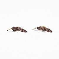 Topshelf Womens Painted Feather Studs