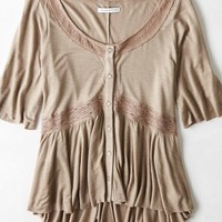 AEO Women's Lace Trim Button Top