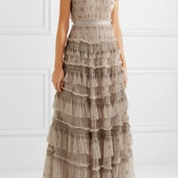 Needle & Thread - Andromeda ruffled embellished tulle gown