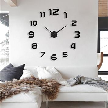 2017 new clock watch wall clocks horloge 3d diy acrylic mirror Stickers Home Decoration Living Room Quartz Needle