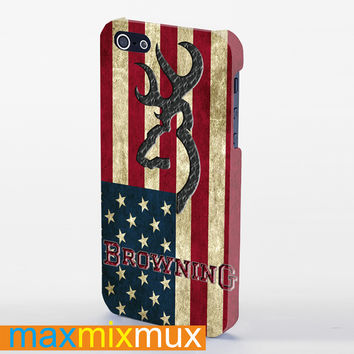 Browning Deer Flag Us iPhone 4/4S, 5/5S, 5C Series Full Wrap Case