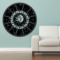 Wall Vinyl Sticker Decals Decor Art Bedroom Design Mural Crescent Moon Sun Calendar Zodiac Stars Planet Cosmos (z2956)