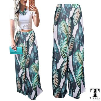2018 Summer Boho Floral Print Floor Length Long Bohemian Culottes Banana Leaf Beach Skirts Long 2018 Summer