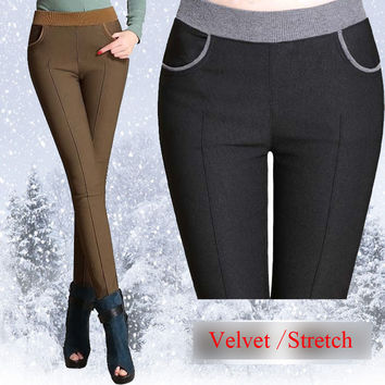 2016 winter women stretch casual cotton pants Plus size 6XL 5XL thick fleece ladies patchwork black pencil pants elastic waist