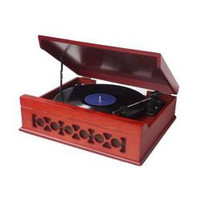 Vintage Classic Style Bluetooth Turntable Gramophone Phonograph Vinyl Record Player with Vinyl-to-MP3 Recording