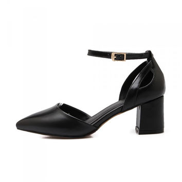 Pointed Toe With Heel Leather Shoes [4920624004]