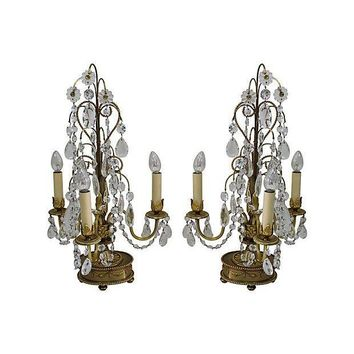 Pre-owned Brass Crystal Candelabra Table Lamps - A Pair