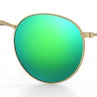 Ray Ban RB3447 50mm Round Gold Green Flash Polarized Sunglasses