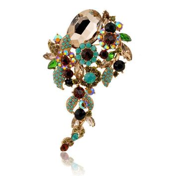 Brooches Colorful Big Crystal Atmosphere