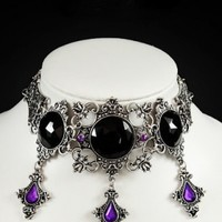 Restyle Purple and Black Lenore Choker
