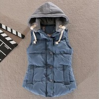 Women Fashion Hooded Vest Sleeveless Winter Outdoor Sport Waistcoat Button Outwear Jacket [8833958988]