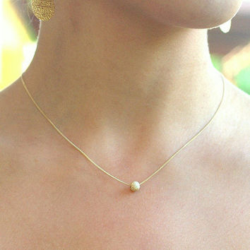 Tiny gold necklace ball necklace gold dot by JulJewelry on Etsy