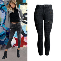 The new women's zipper is slim and skinny black jeans