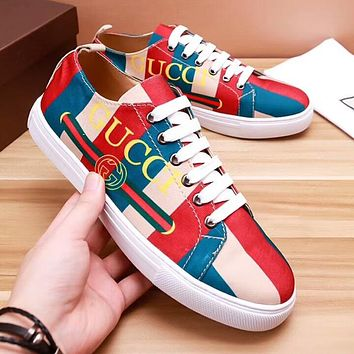2018 New GUCCI Popular Men Low Top Casual Sport Shoe Sneakers Red/Blue/Nude I-OMDP-GD