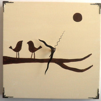 Wall clock Hand painted on canvas birds on a by Shellyka on Etsy