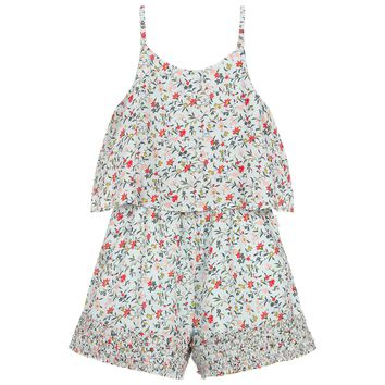 Girls Light Blue Floral Printed Ruffled Romper (Mini-Me)