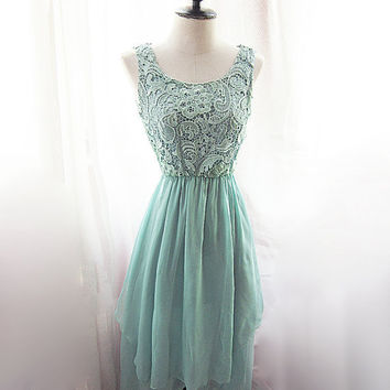 Mermaid Tears Seafoam Blue Medieval Mint Green Dress Minty Marie Antoinette Alice in Wonderland Bohemian Ethereal Jane Austen Dress Gown