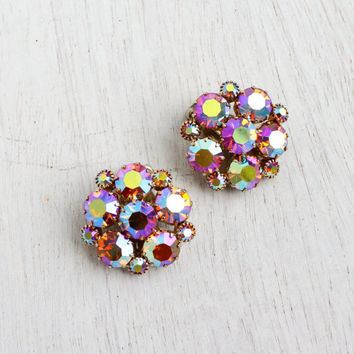 Vintage Weiss Aurora Borealis Rhinestone Clip On Earrings - Gold Tone Designer Signed Costume Jewelry / Round Cut Sparkles