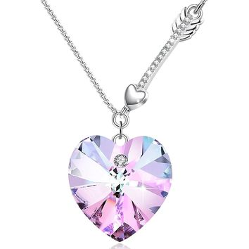 "[Valentines Day Gift]""Sweetie""Heart Shape Pendant Necklace Angelady Jewelry for GF Family Friends Gifts,Crystal from Swarovski"