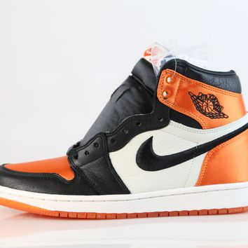BC HCXX Nike Womens Air Jordan Retro 1 High OG Satin Shattered Backboard Black Starfish AV3725-010