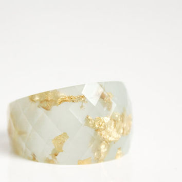 palest seaglass green size 5.5 round faceted eco resin ring featuring gold leaf flakes
