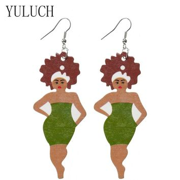 YULUCH  African Lady Print Big Pendant Earrings For Woman Party Jewelry Natural Wood Simple Earring