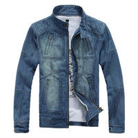 Mens Hip Denim Zipper Jacket