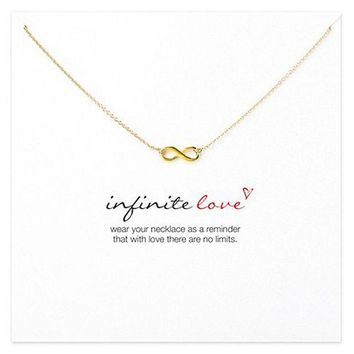 ONETOW New Arrival Jewelry Shiny Stylish Gift Lock Infinity Alloy Necklace [11462530895]
