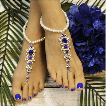 AZURE pearl crystal barefoot sandals - royal blue