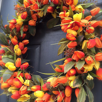 Red Orange Yellow Tulip Wreath Spring Tulip Wreaths Door Decor Spring Tulips Mothers Day Gift