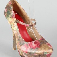 Sophia-066 Satin Floral Mary Jane Platform Pump