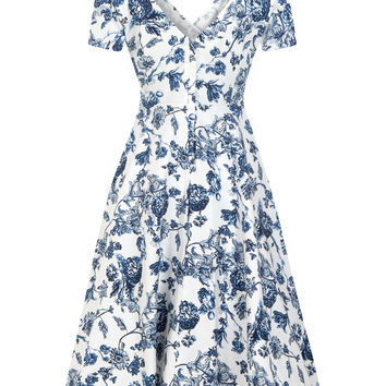 Collectif Maria Toile floral 50's print swing dress