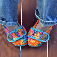 Crochet slippers, booties, shoes, socks with a button strap, colorful variegated tie dye spring collection in neon bikini