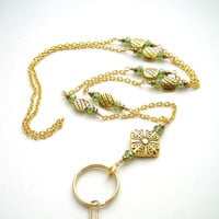 Gold Plated Chain ID Badge Lanyard with Green Crystal Rondells and Gold Plated Rondells
