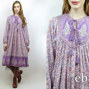 Indian Dress India Dress Hippie Dress Hippy Dress Boho Dress Festival Dress Indian Cotton Dress Vintage 70s Purple Paisley Dress S M