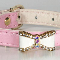 Pink Bow Dog Collar
