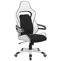 High Back Vinyl Executive Swivel Office Chair with Fabric Inserts
