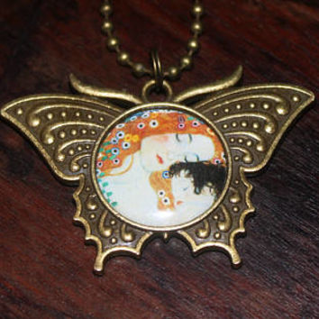 Mother And Child Necklace, Gustav Klimt, Fine Art, Mother's Day, Bronze Butterfly Pendant, Gift For Mom