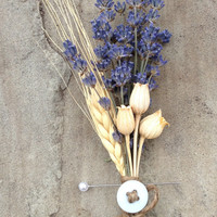 Handmade Wedding Boutonnieres Corsages - Baby Blue Blond Wheat Boutonnieres, Lavender Boutonnieres, Lavender Corsages, Pods, Country Rustic