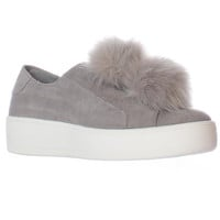 Steve Madden Bryanne Fluff Ball Platform Slip On Sneakers - Grey Multi