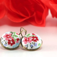 Antique Leverback Earrings - Wild Flowers - Fresh Spring - Red Pink Blue Green on White - Romantic Fabric Covered Buttons Earrings