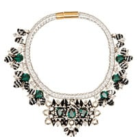 Mamba Necklace In Silver And Green by Shourouk - Moda Operandi