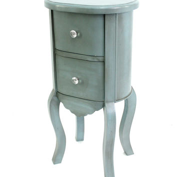 Funny Doll-like Blue Wooden End Table with 2 Drawers