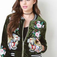 Velvet Embroidered Tiger Patch Bomber Jacket