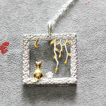 Window & Gold Cat Necklace, Sterling Silver Cat Pendant Necklace, square necklace,Cat jewelry, gifts for her, cat lover gifts